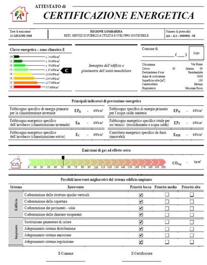 Attestato di certificazione energetica che cos 39 esempio - Certificazione energetica e contratto di locazione ...